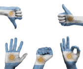 Hand set with the flag of Argentina — Stock Photo