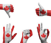 Hand set with the flag of Canada — Stock Photo