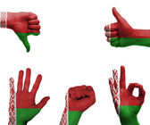 Hand set with the flag of Belarus — Stock fotografie