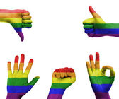 Hand set with the gay pride flag — Stock fotografie