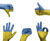 Mano con la bandiera dell'Ucraina — Foto Stock