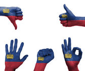 Hand set with the flag of Liechtenstein — Stock fotografie