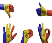 Hand set with the flag of Moldova — Stock fotografie