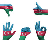 Hand set with the flag of Azerbaijan — Foto Stock