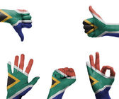 Hand set with the flag of South Africa — 图库照片