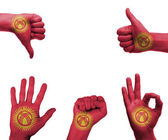 Hand set with the flag of kyrgyzstan — Stock Photo