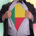 Постер, плакат: Businessman with Benin flag t shirt