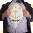 Businessman with Rhode Island flag t-shirt — Stock Photo #51219509