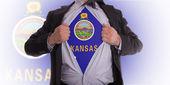 Businessman with Kansas flag t-shirt — Stock Photo