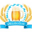 Stock Vector: Oktoberfest banner with beer mug and wheat ears