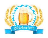 Oktoberfest bira kupa ve buğday kulakları ile banner — Stok Vektör