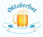 Oktoberfest banner with beer mug — Stock Vector