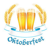 Oktoberfest banner with two beer glass and wheat ears — Stock Vector