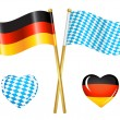 Stock Vector: Germany and Bavariflags icons
