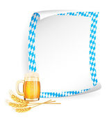 Paper board in bavarian colors with beer mug and wheat ears — Stockvektor