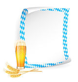 Paper board in bavarian colors with beer glass and wheat ears — 图库矢量图片