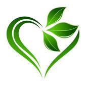 Abstracte plant pictogram met hart element — Stockvector