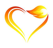 Abstract fire flames icon with heart element — Stock Vector