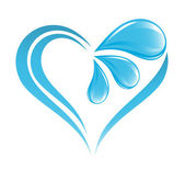 Abstract water icon with heart element — Stock Vector