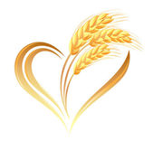 Abstract wheat ears icon with heart element — Stock Vector