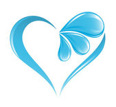 Abstract water icon with heart element — Cтоковый вектор