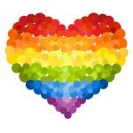 Confetti rainbow heart — Stock Vector