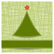 Stock Vector: Simple Christmas tree on striped background
