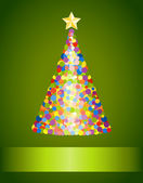 Confetti Christmas tree on green background — Stock Vector