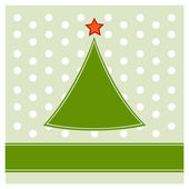 Simple Christmas tree on polka dot pattern background — Stock Vector