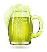 Mug of green beer isolated on a white background — Stock Vector