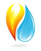 Fire and water icon — Stock Vector