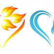Abstract fire flames and water icons with heart element — Stock Vector