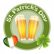Stock Vector: St.Patrick's Day banner with two beer glass