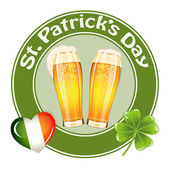 St.Patrick's Day banner with two beer glass — Stok Vektör