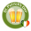 St.Patrick's Day banner with two beer glass — Stock Vector