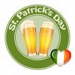 St.Patrick's Day banner with two beer glass — Stock Vector #19820751