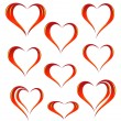 Stock Vector: Set of heart icons
