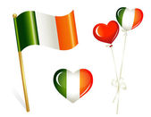 Ireland country flag, heart and balloons in irish colors — Stock Vector