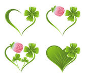 Heart icon with clover leaf and blossom — Stock Vector