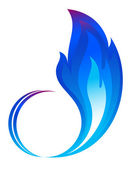 Abstract blue fire flames icon — Stock Vector