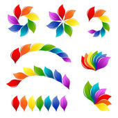 Set of nature design elements in rainbow colors — Stock Vector