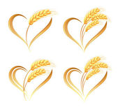 Abstract wheat ears icons with heart element — Stock Vector