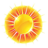 Glossy sun button — Stock Vector