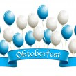 Oktoberfest banner with balloons in traditional colors of Bavari — Stock Vector
