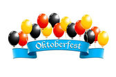 Oktoberfest banner with balloons in national colors of Germany — Stock Vector