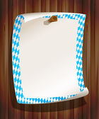 Paper board in bavarian colors on wood background — Vector de stock