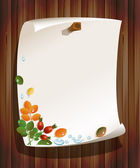 Autumn leaves with rose-hips and paper board on wood background — Stock Vector