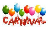 Bunte karneval text mit ballons — Stockvektor