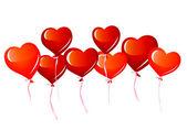 Palloncini cuore rosso — Vettoriale Stock