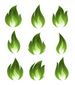 Collection of green fire icons — Stock Vector